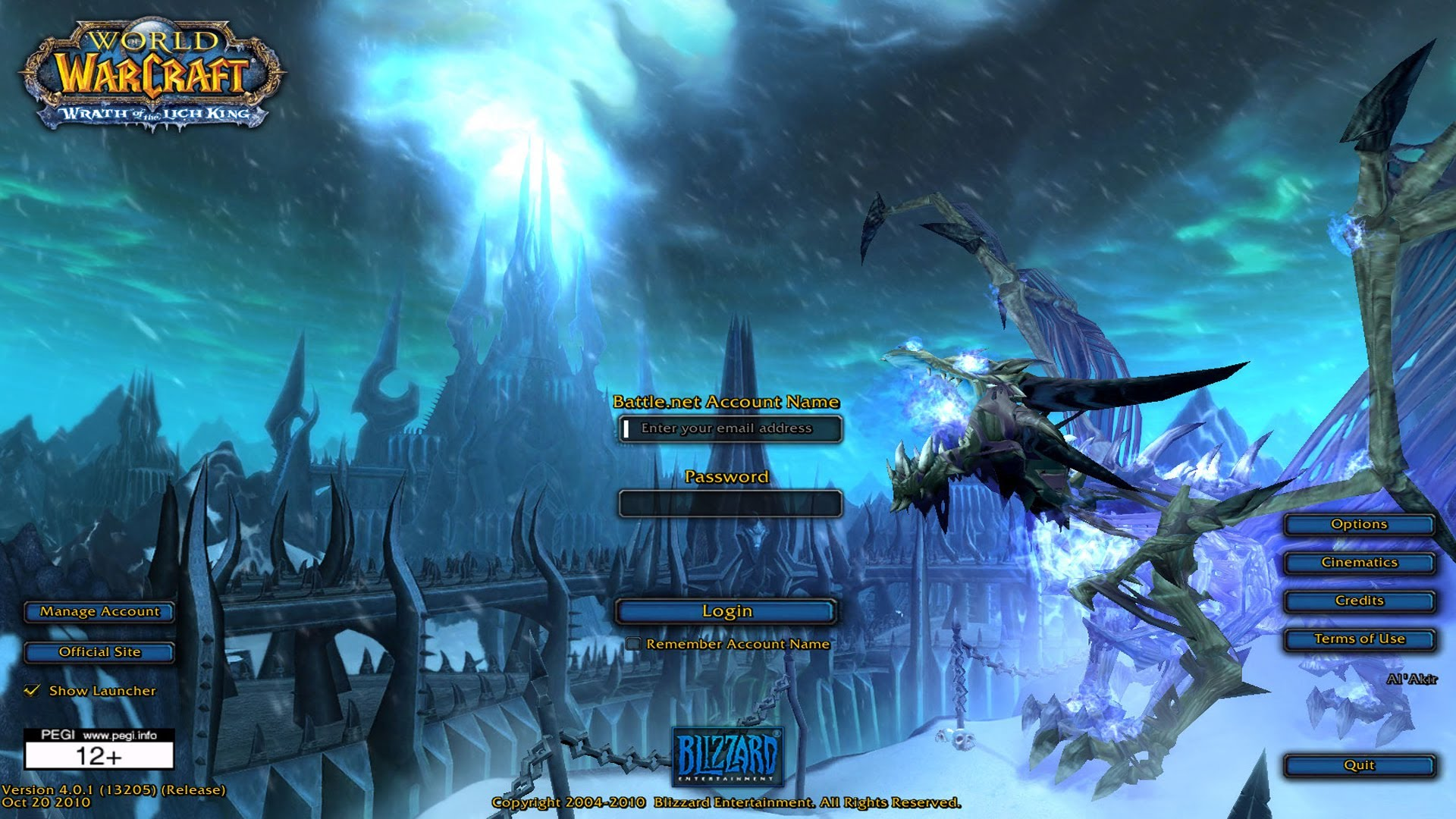 wotlk 335a client login screen