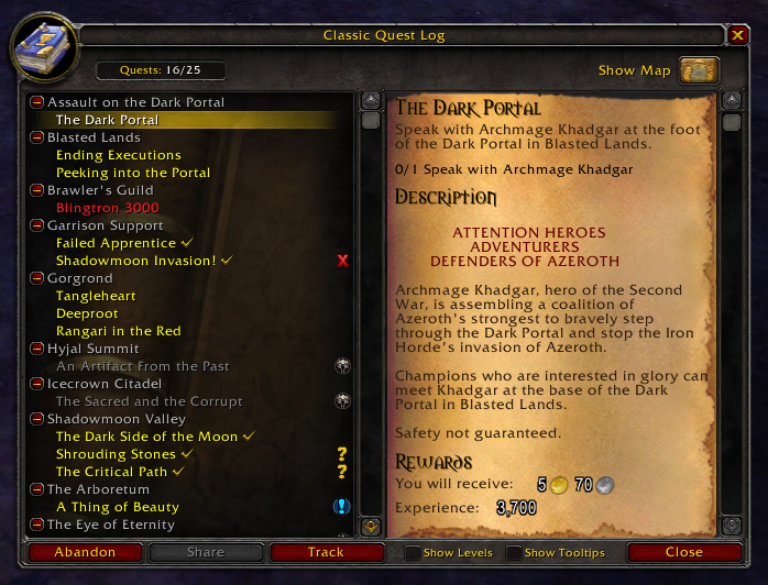 Extended Quest Log vanilla wow addon