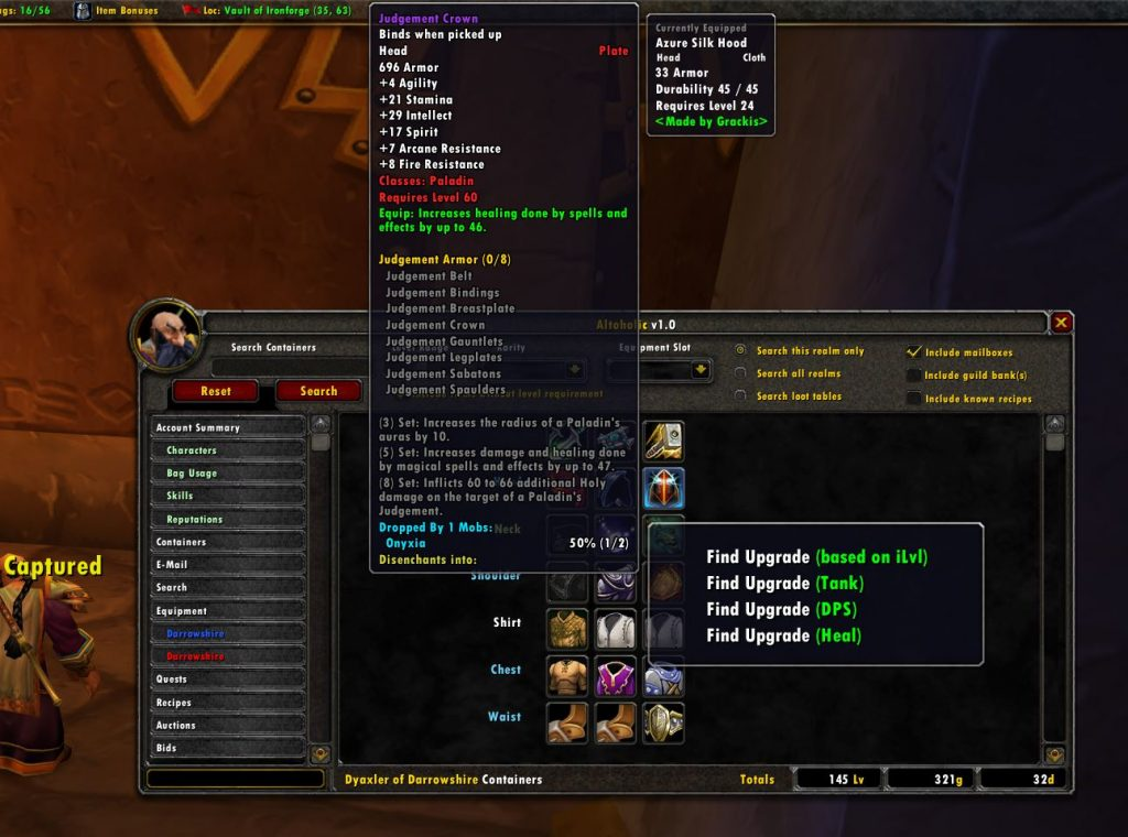 Altoholic WoW Addon Equipment